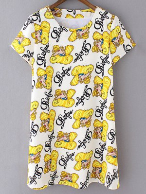 Cartoon Print Shift Dress - Yellow