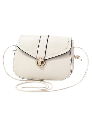Solid Color Push Lock Crossbody Bag - White