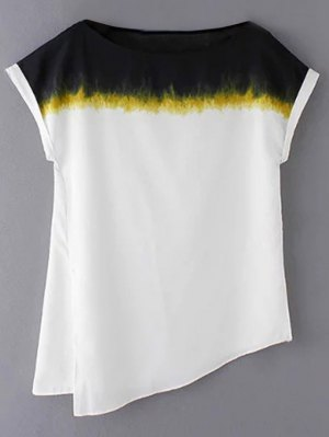 Loose Side Slit Round Neck Short Sleeve T-Shirt - White