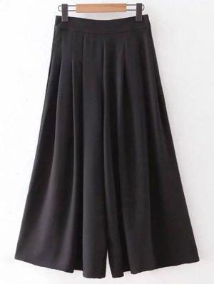 Hip Pockets Solid Color Culotte - Black