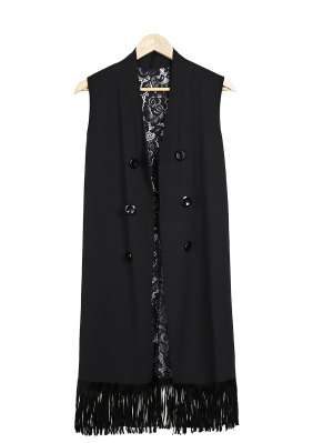 Lace Splice Black Collarless Waistcoat - Black