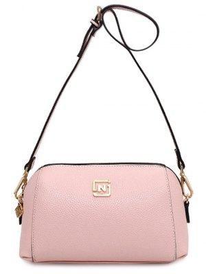 Solid Color Metal Letter Crossbody Bag - Pink