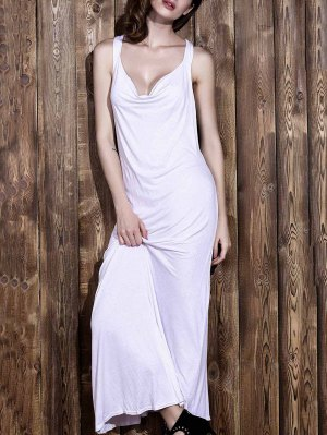 White V Neck Sleeveless Backless Maxi Dress - White