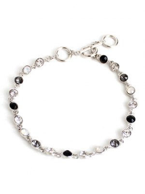 Chic Rhinestone Decorated Anklet - Silver
