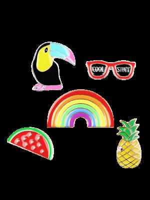 Rainbow Pineapple Watermelon Glasses Brooch Set