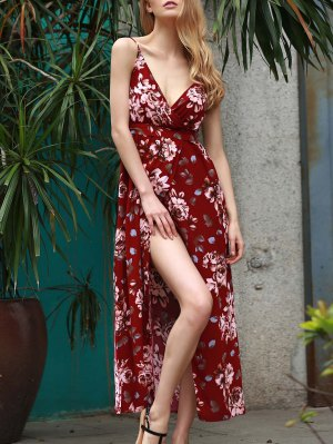 Floral Spaghetti Straps Slit Maxi Dress - Wine Red