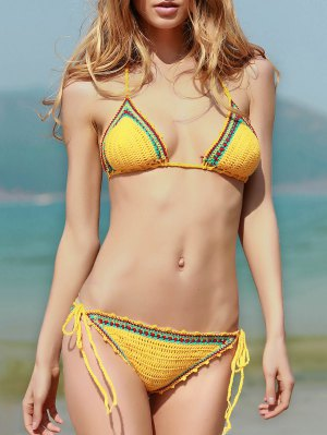 Spaghetti Strap Lace Up Crochet Bathing Suit - Yellow