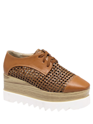 Hollow Out Lace-Up  Platform Shoes - Light Brown