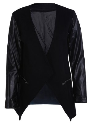 Open Front PU Leather Sleeve Trench Coat - Black