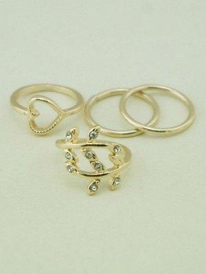 Heart Leaf Alloy Rings - Golden