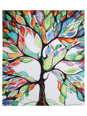 Colorful Tree Off Life Tapestry Beach Blanket - White M