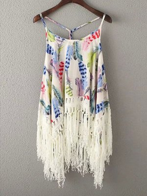 Tassels Spliced Spaghetti Straps Printed Tank Top - Blue