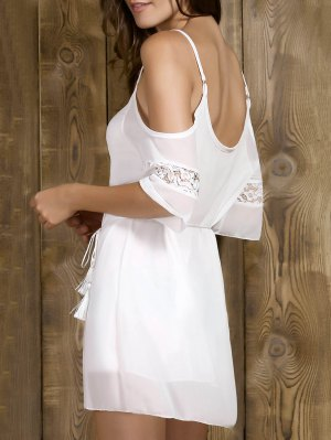 Cold Shoulder Slip Rope Belt Dress - White