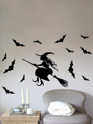 Waterproof Happy Halloween Witch Bats Vinyl Wall Stickers Custom