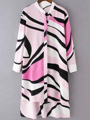Striped High-Low Shirt Collar Long Sleeve Shirt - Pink