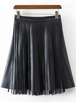 PU Leather High Waisted Tassels Spliced Skirt - Black