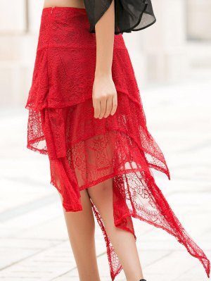 Asymmetric Solid Color Lace Skirt - Red