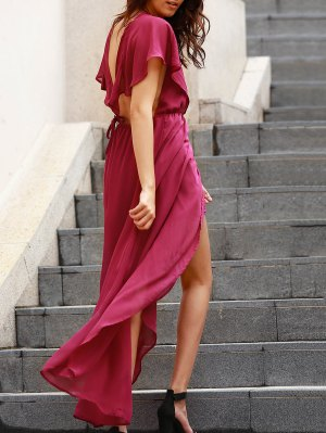 Backless Plunging Neck Flouncing High Slit Dress - Purple
