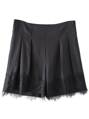Black Lace Splice High Waist Shorts - Black