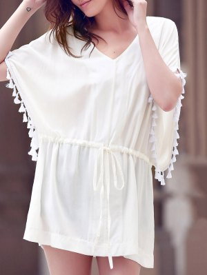 Solid Color V-Neck Batwing Sleeve Drawstring Dress - White