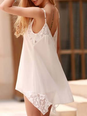 Lace Spliced Spaghetti Straps Solid Color Dress - White