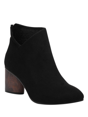 V-Shape Pointed Toe Zipper Ankle Boots - Black