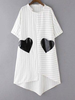 Striped Pockets Patch Irregular Hem Dress - White