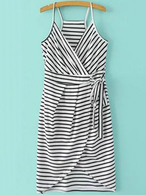 Striped Wrap Cami Tulip Dress - White And Black