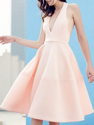 Open Back Plunging Neck Sleeveless Dress - Pink