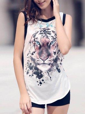 Animal Print Round Neck Sleeveless Tank Top - White