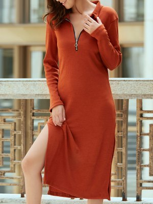 Solid Color Side Slit Plunging Neck Long Sleeve Dress - Claret