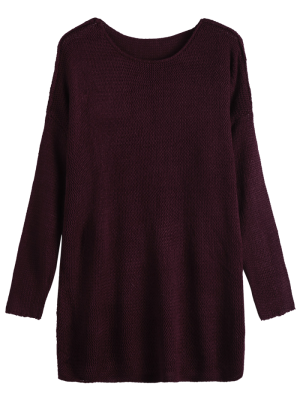 Dropped Shoulder Oversized Sweater - Wine Red