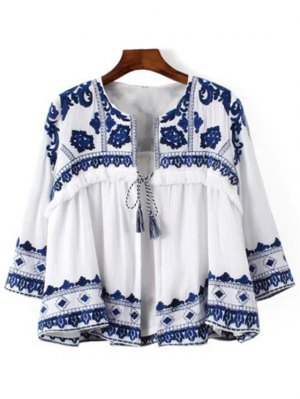 Blue And White Porcelain Blouse - Blue And White
