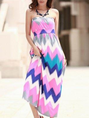 Zig Zag Strapless Print Maxi Dress - Pink
