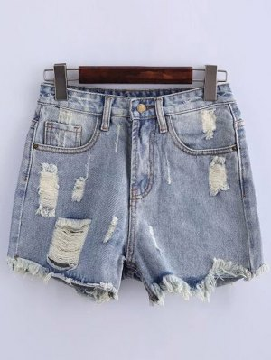 High Waisted Ripped Denim Shorts - Light Blue