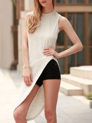 Sleeveless Asymmetrical T-Shirt - Gray