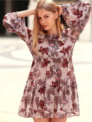 Floral Print Tiered A-Line Dress