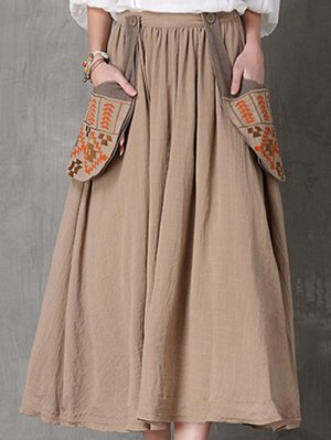 Ethnic Embroidery A Line Skirt - Camel