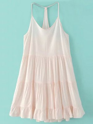 Spaghetti Strap Tiered Dress - Pink