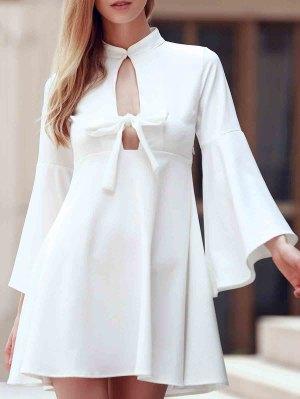 Flare Sleeve Cutout Swing Dress - White