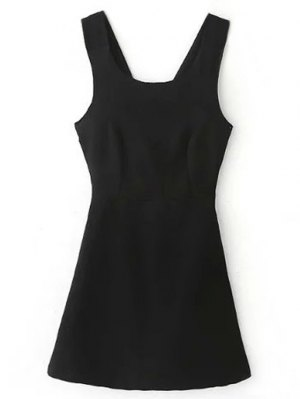 Back Cross Self Tie Sleeveless Dress - Black