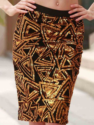 High-Waisted Sequined Pencil Skirt - Golden