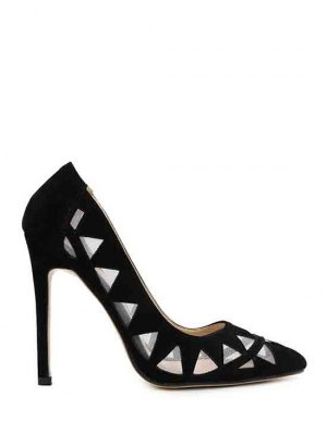 Hollow Out Geometric Pointed Toe Pumps - Black