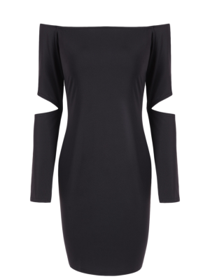 Off The Shoulder Long Sleeve Bodycon Dress - Black