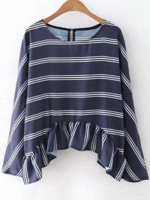 Striped Flounce Ruffles Round Neck Long Sleeve Blouse - Purplish Blue