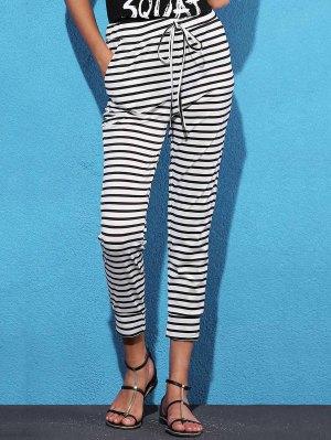 Belted Striped High Waist Harem Pant - White