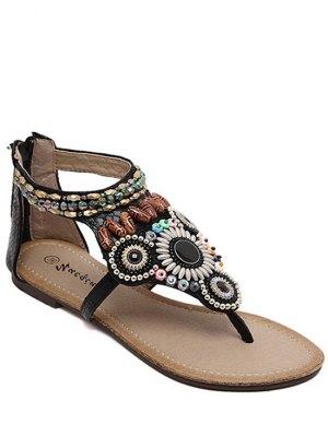 Zip Beading Flat Heel Sandals - Black