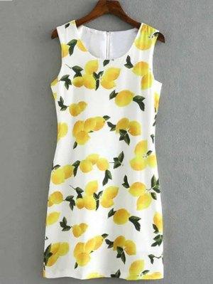 Lemon Print Round Collar Sleeveless Dress - White