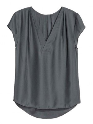 Loose Solid Color V Neck Short Sleeve T-Shirt - Deep Gray