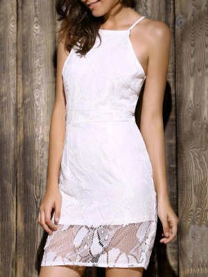 White Lace Spliced Spaghetti Straps Sleeveless Dress - White